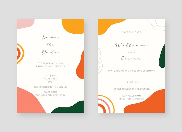 Invitation card template. set of wedding invitation card template Premium Vector