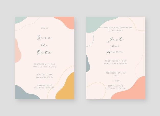 Invitation card template. set of wedding invitation card template Premium Vector