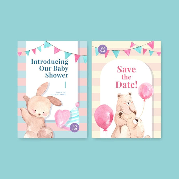 Invitation card template with baby shower design concept watercolor vector illustration. Free Vector