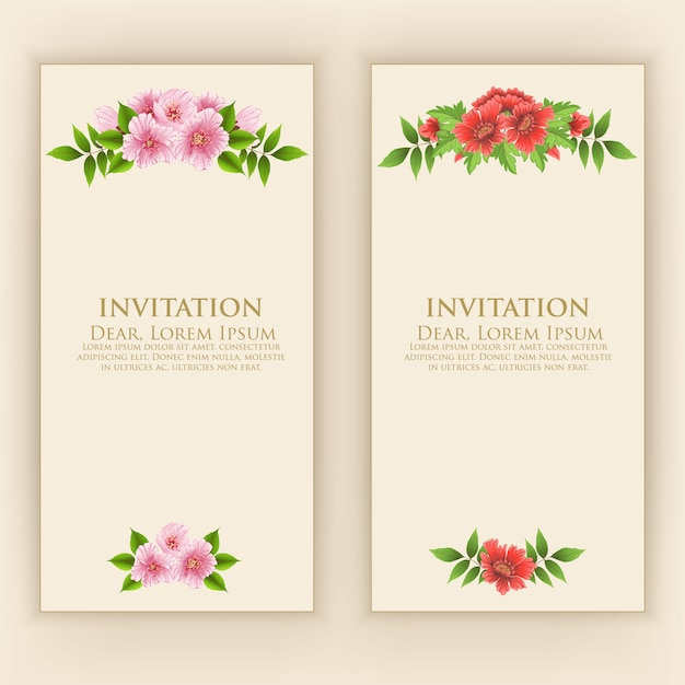 Invitation card template with elegant flower decoration Free Vector