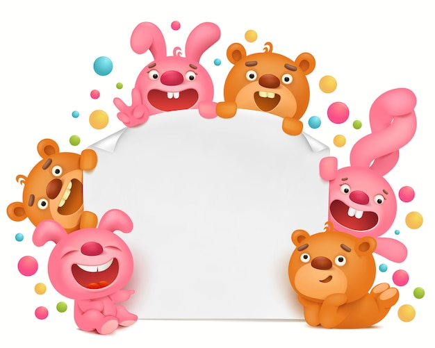 Invitation card template with funny cartoon toy animals Premium Vector