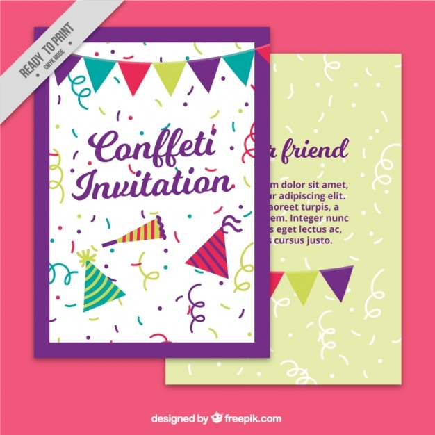 Invitation card template with garlands and confetti vector free invitation card template with garlands and confetti free vector stopboris Choice Image