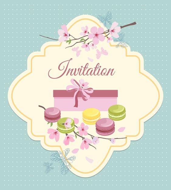 Пригласительный билет на чаепитие с цветами и французским миндальным печеньем в винтажном ностальгическом стиле. Бесплатные векторы