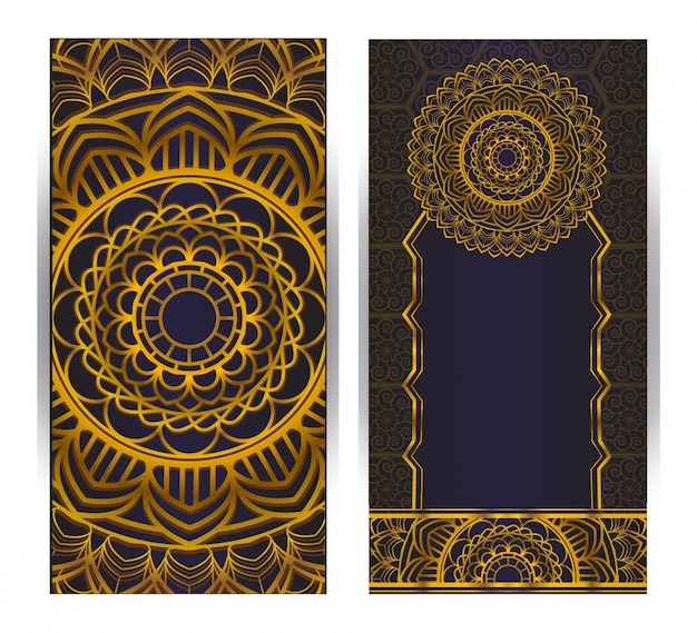Invitation card vintage design with mandala pattern on purple background Premium Vector