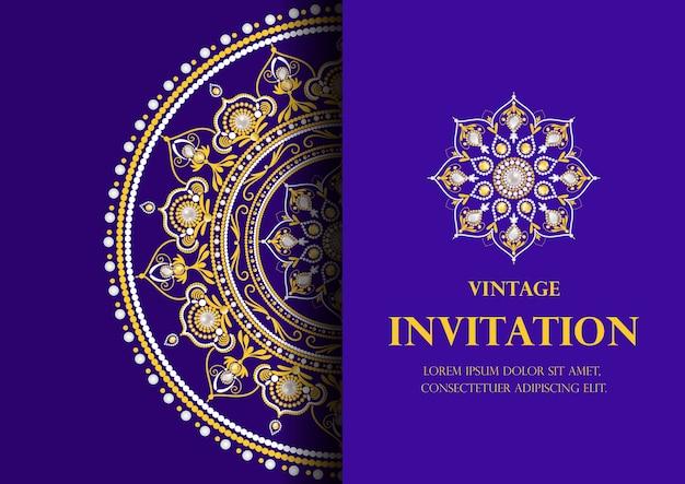 Invitation Card Vintage Style Blue Background Vector Vector