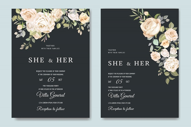 Invitation card with beautiful floral template Premium Vector