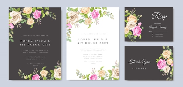 Invitation card with beautiful yellow and pink roses template Premium Vector