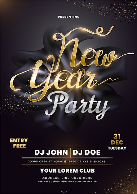 Invitation Card With Calligraphy New Year Party On Black