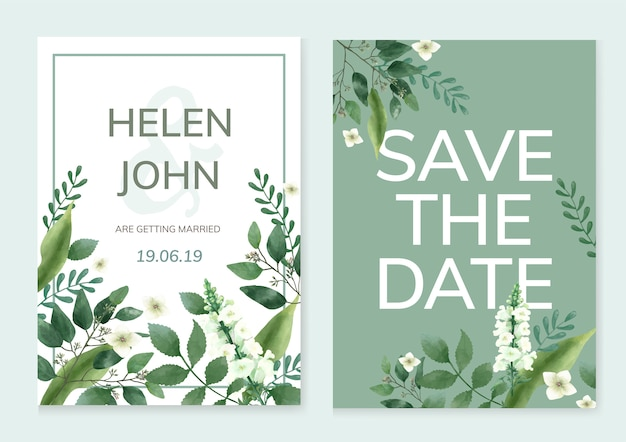 Invitation card with a green theme Free Vector