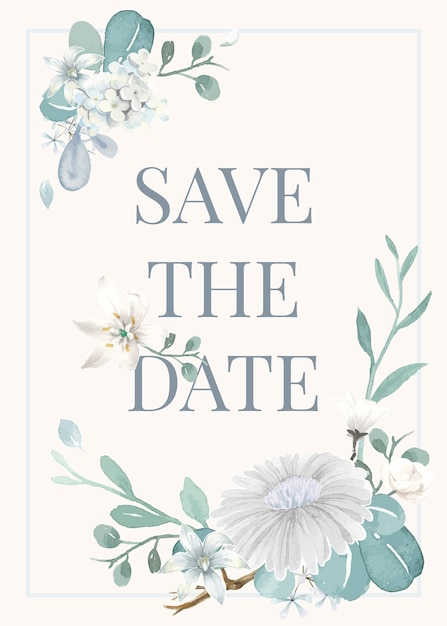 Invitation card with a light blue theme Free Vector