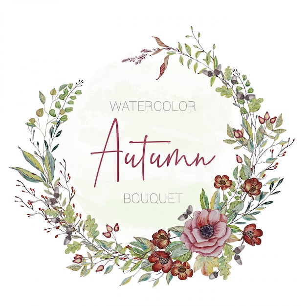Invitation card with painted autumn flowers Premium Vector