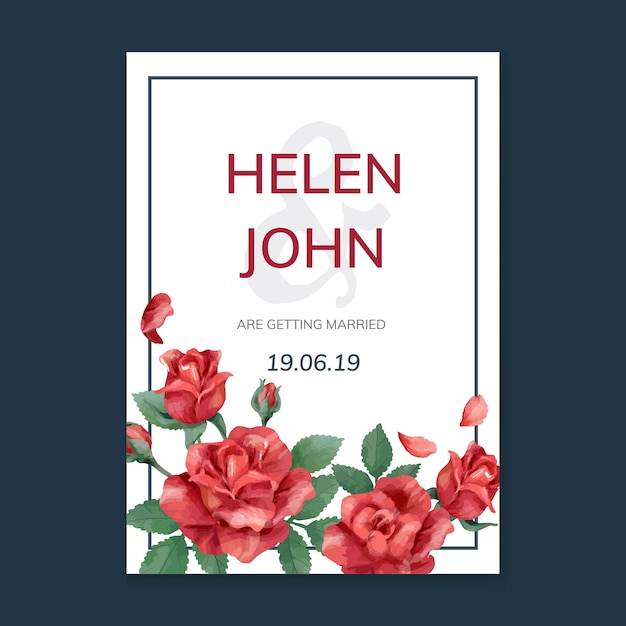 Invitation card with a red color scheme Free Vector