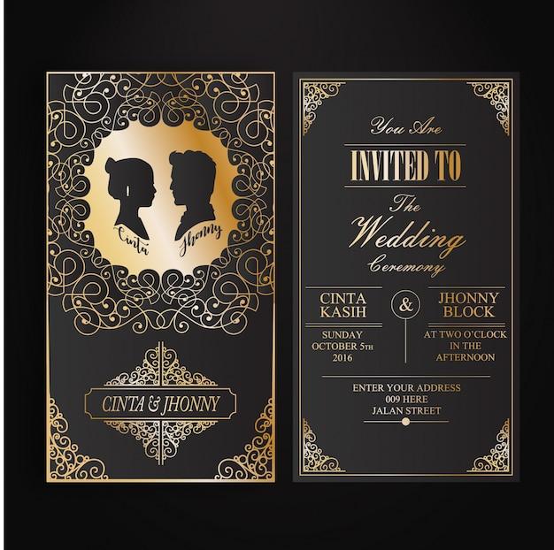 Invitation card with siluet vector premium download invitation card with siluet premium vector stopboris Choice Image
