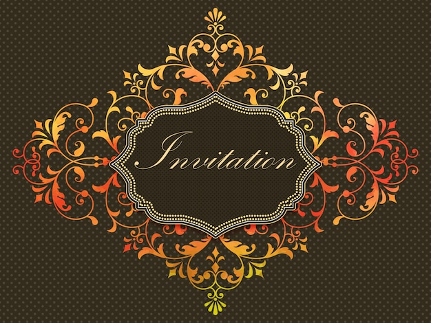 Invitation card with watercolor damask element on the dark background. Free Vector