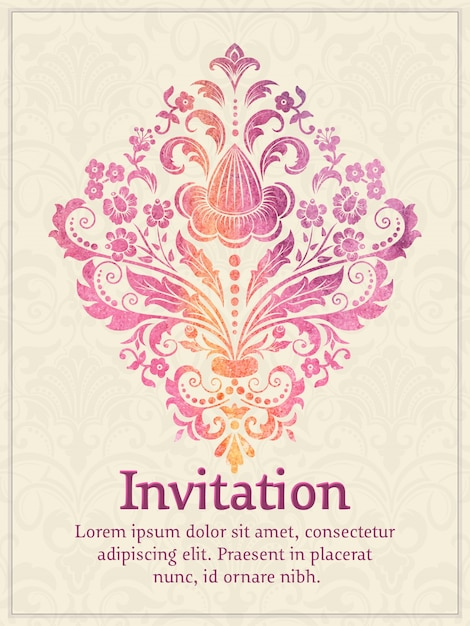 Invitation Card With Watercolor Damask Element On The Light