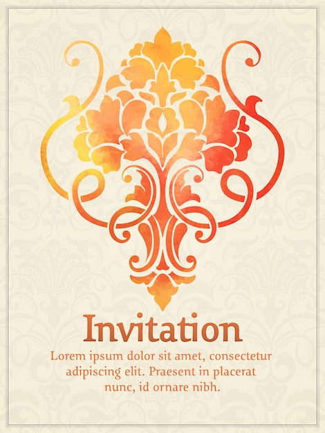 Invitation card with watercolor damask element on the light damask background Free Vector