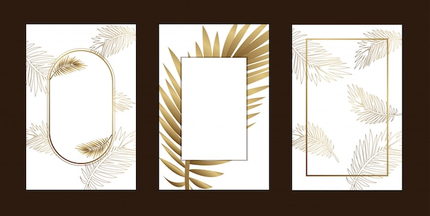 Invitation cards elegant leaf outline gold white Premium Vector