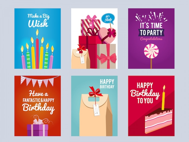 Invitation Cards For Kids Birthday Party Vector Premium