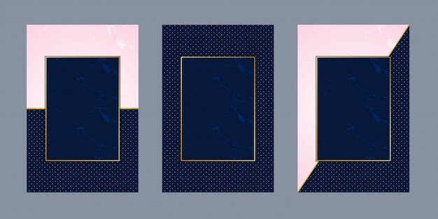 Invitation cards pink marble blue dot  luxury gold Premium Vector