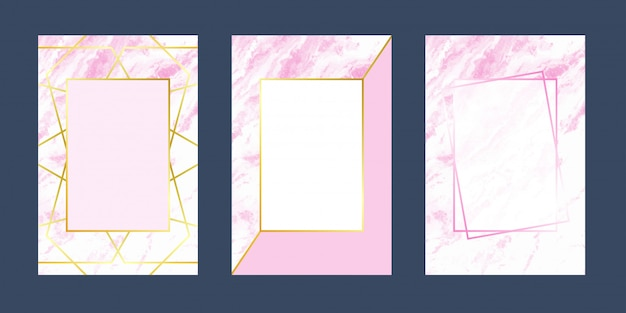 Invitation cards pink white marble luxury texture Premium Vector