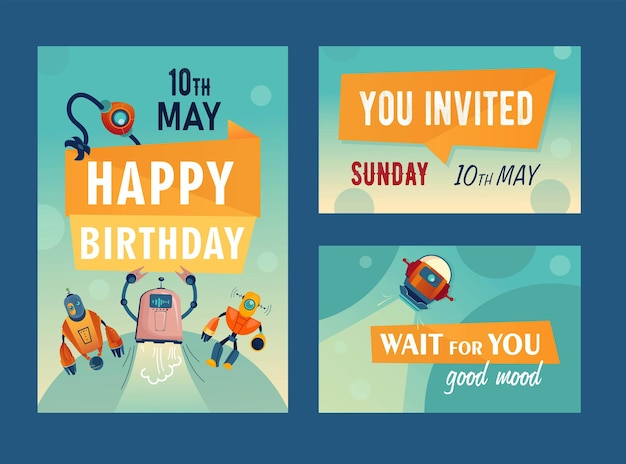 Invitation cards set with cartoon robots. machines, cyborgs, assistants illustrations with text and date Free Vector