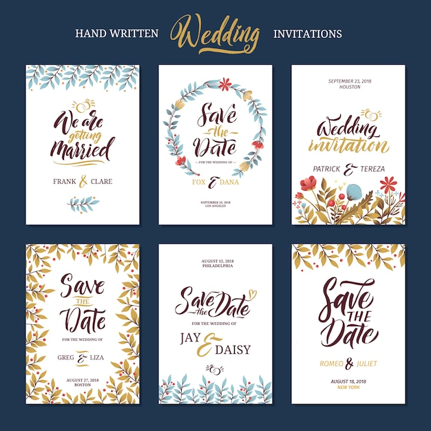 Invitation cards for wedding with calligraphy words. Premium Vector