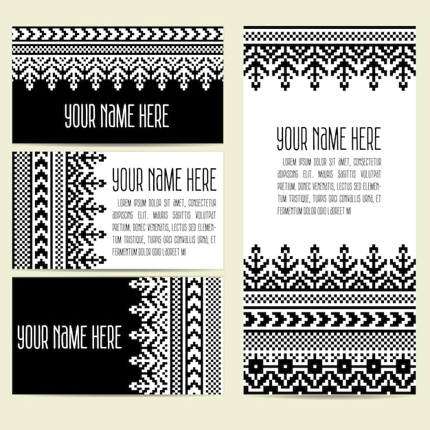 Invitation, cards with ethnic ornamental elements Free Vector