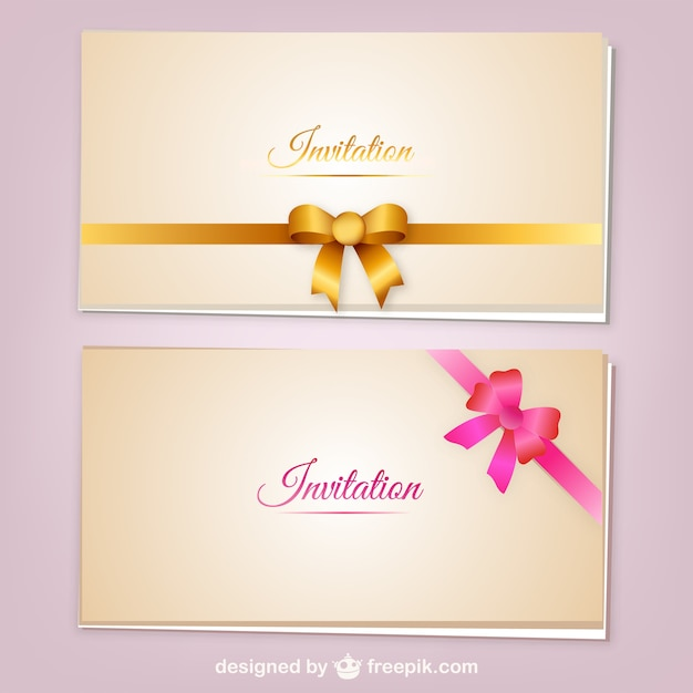 Invitation cards with ribbons vector vector free download invitation cards with ribbons vector free vector stopboris