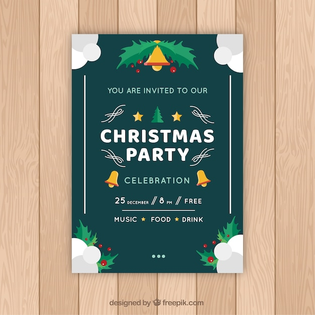 Invitation to a celebration of christmas Free Vector
