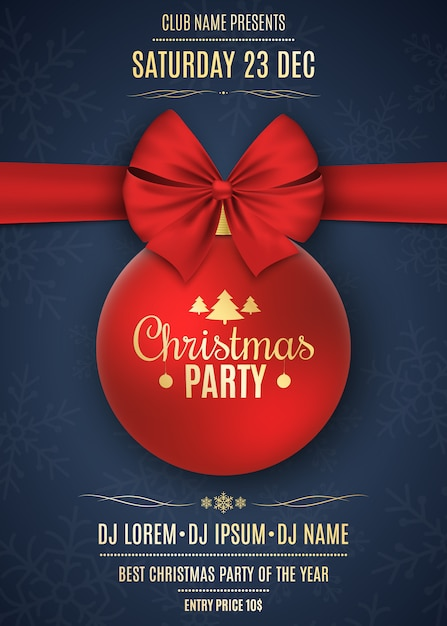 Invitation to a christmas party. red ball with red ribbon on a dark blue background with snowflakes. the names of the dj and club. gold text on a dark background. vector Premium Vector