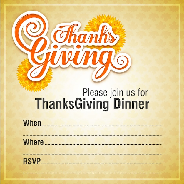 Invitation design for a thanksgiving dinner. Free Vector
