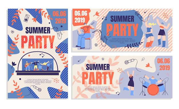 Invitation flyer summer party banner order ticket Premium Vector