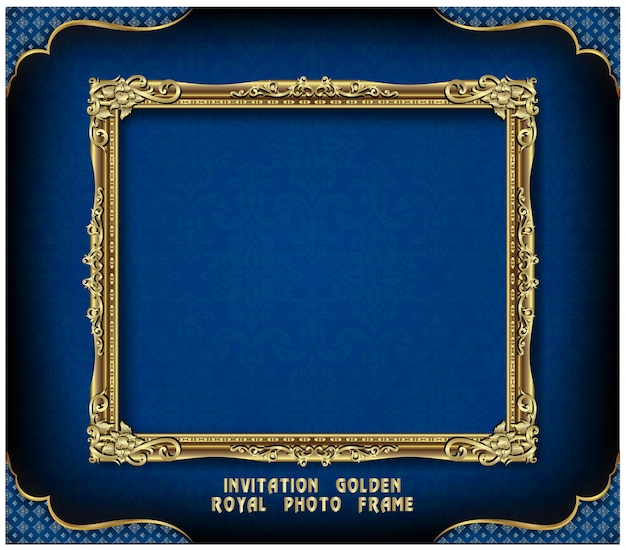 Invitation of golden photo frame vector design Premium Vector