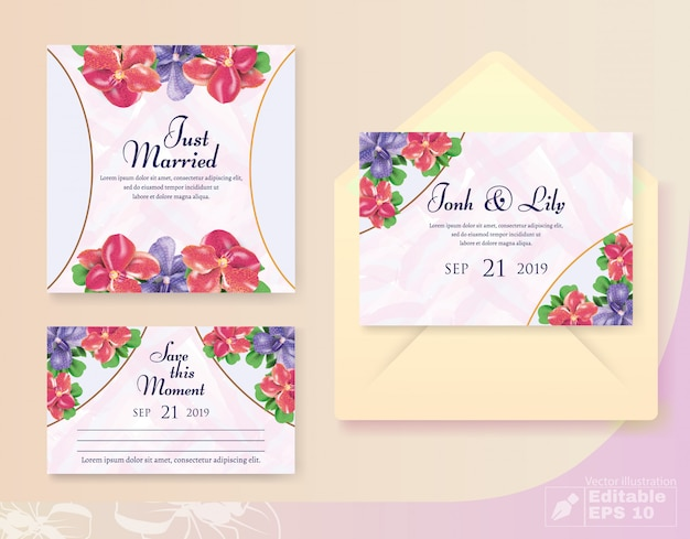 Invitation And Greeting Wedding Set With Bud Decor Vector