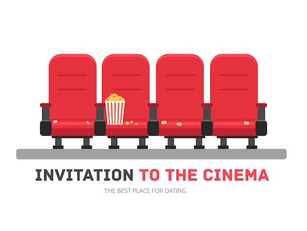 An invitation to the movie in flat design background concept Premium Vector
