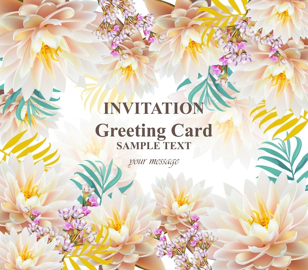 Invitation or greeting card with water lily flowers vector invitation or greeting card with water lily flowers premium vector stopboris Gallery