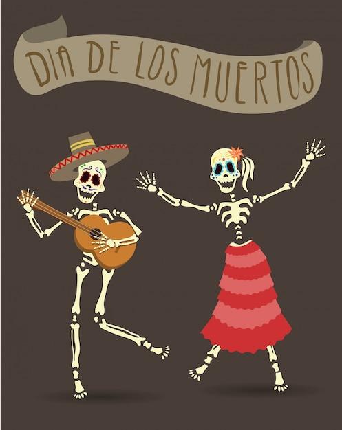 死者の日のための招待ポスター。 dia de los muertosパーティー。ギターを弾いて踊るスケルトン。 Premiumベクター