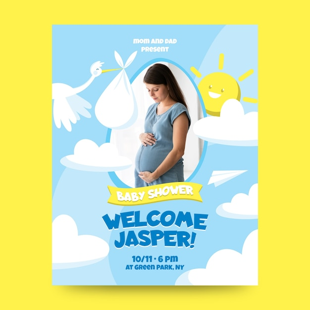 Invitation template for baby shower Free Vector