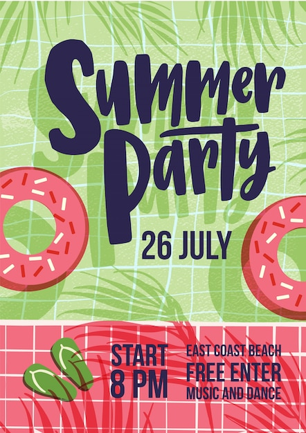 Invitation template for summer open air party with water pool, swim tube, shadows of exotic tropical palm trees and flip flops and place for text. flat vector illustration Premium Vector