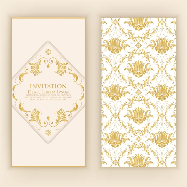 Invitation template with abstract ornaments Free Vector