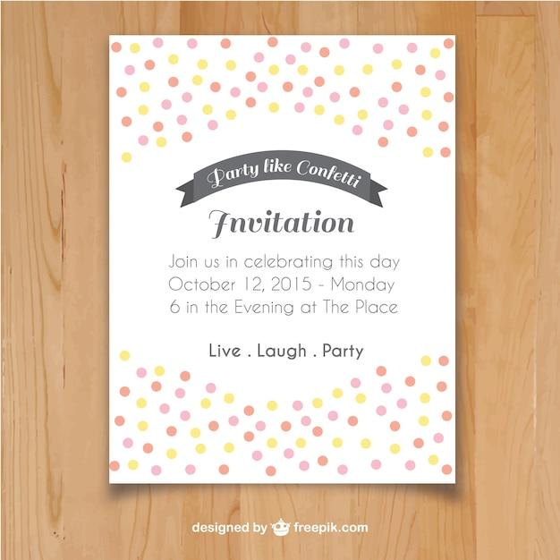 invitation template with confetti vector free download
