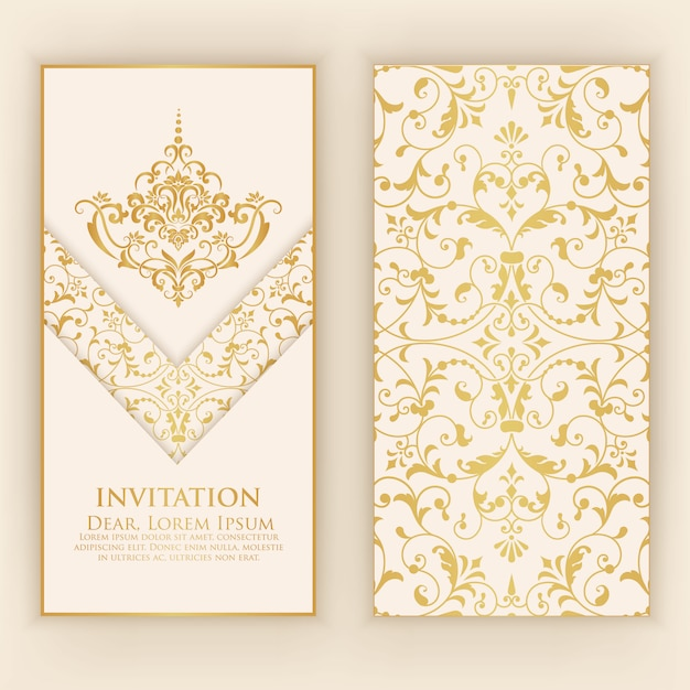Invitation template with golden damask ornaments Free Vector