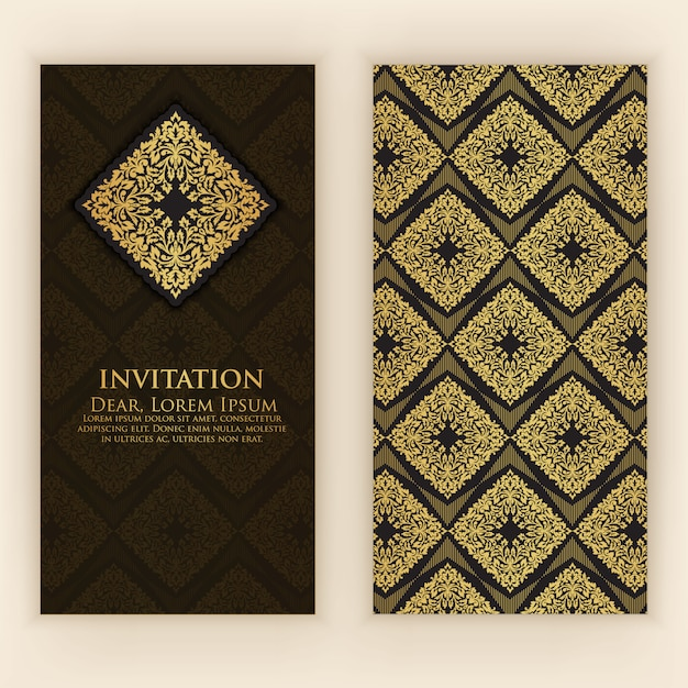 Invitation template with golden decoration Free Vector