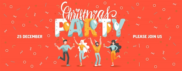 Invitation ticket template to christmas party with funny people dancing and drinking wine. Premium Vector