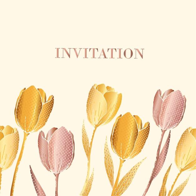 Invitation tulip flowers print Premium Vector