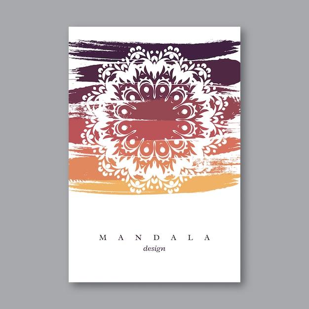 Приглашение, шаблон свадебной открытки с рисованной мандалы, красочный фон гранж. винтажный декоративный элемент в восточном стиле. индийский, азиатский, арабский, исламский, османский мотив. Premium векторы