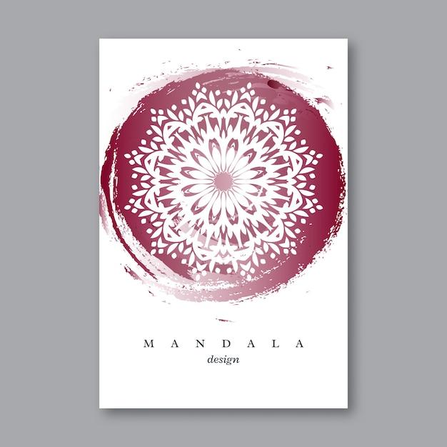 Приглашение, шаблон свадебной открытки с рисованной мандалой, акварельный фон. винтажный декоративный элемент в восточном стиле. индийский, азиатский, арабский, исламский, османский мотив. Premium векторы