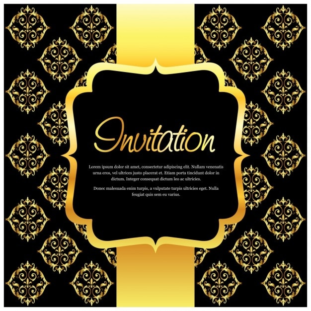 Invitation with golden ornaments vector free download invitation with golden ornaments free vector stopboris Image collections