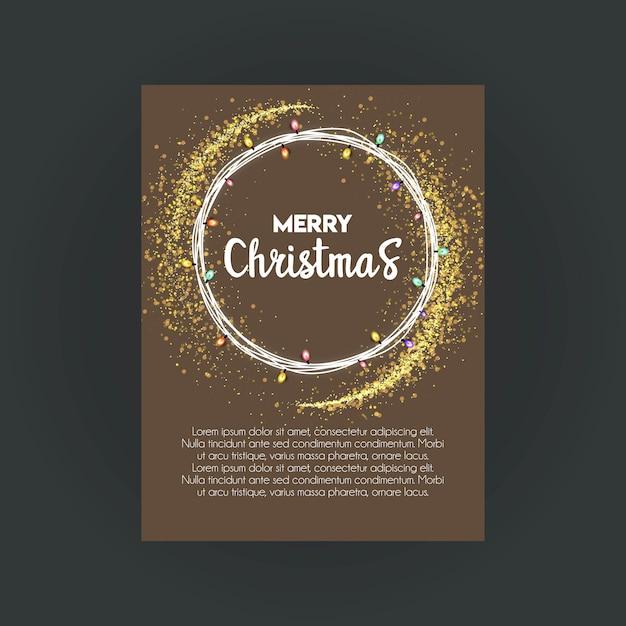 メリークリスマスボケ背景invitationカードのテンプレート 無料ベクター
