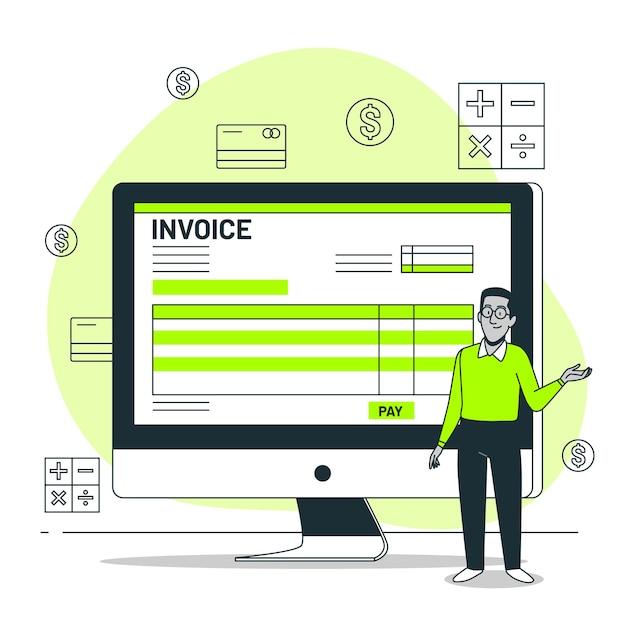 Invoice concept illustration Free Vector